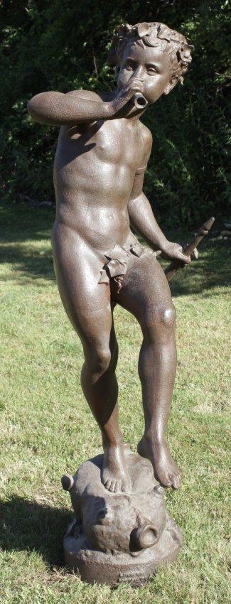 Bronze Bacchante on Wineskin playing Flute,20thC