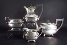 4 pc Sterling Silver Tea Set, English 20th C