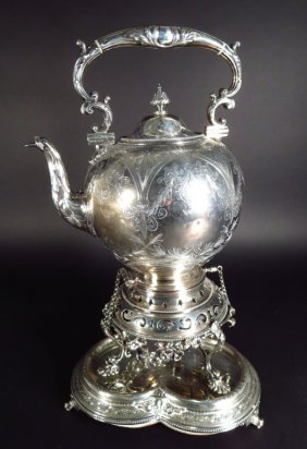Sterling Silver Hot Water Kettle on Stand, 1863
