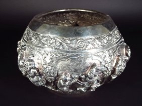 Large Thai Silver Repousse Bowl