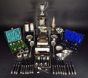 Large English Sterling Silver Lot, 19th & 20th C.