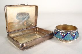 2 Russian Silver Pieces, Bowl and Box,  19th c.