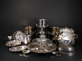 32 Silverplate & Silver Serving Items