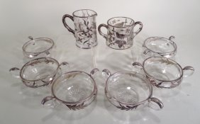 8 Pc. Silver Overlay Glass Berry Dessert Set