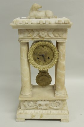 Alabaster Portico Clock, VILLEMSENS a PARIS, 19th