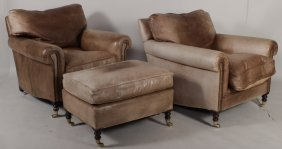George Smith Leather Chairs & Ottoman