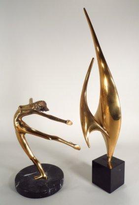 2 Brass Sculptures; A Woman/Sails