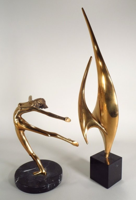 2 Brass Sculptures; A Woman/Sails