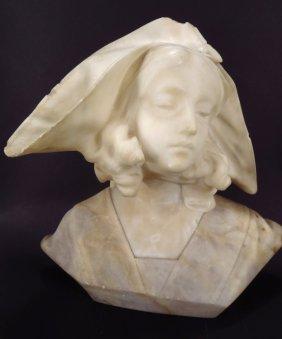 Alabaster Bust of a Renaissance Beauty, 19th C.