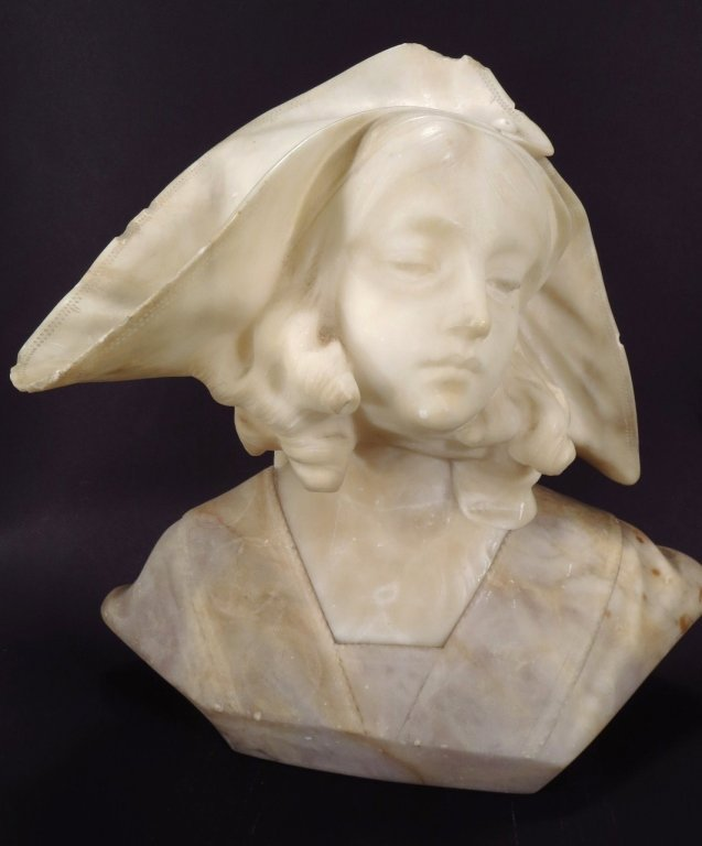 Alabaster Bust of a Renaissance Beauty, 19th C.
