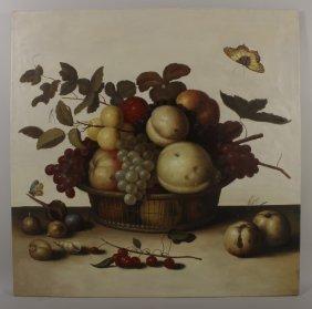 """After Balthasar van Alst, """"Fruit Basket"""", o/c"""