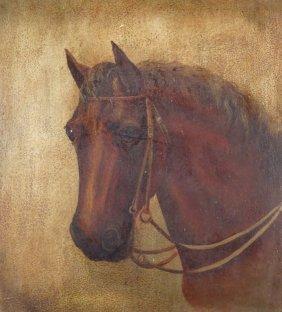 Am. School, 19th C., Horse Portrait, oil on artist