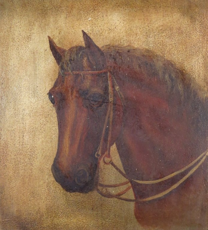 Am. School, 19th C., Horse Portrait, oil on artist