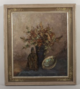 Marie Weger, Buddha with Shell, oil on board