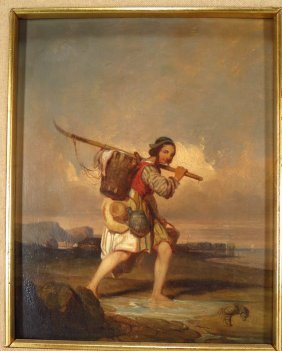 European School, 19th c., Two Peasants, One Carryi
