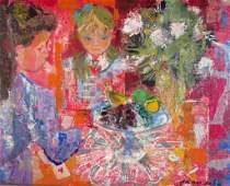 Emilio Grau-Sala, Sp., 1911-1975, Girls w Flowers, O/C