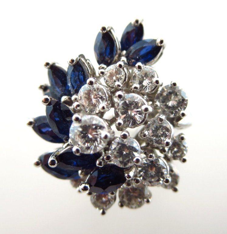 Cartier Platinum, Sapphire & Diamond Cluster Ring