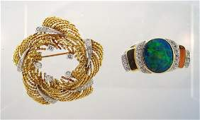 Diamond Wreath  Pin with a Opal   Diamond Pendant
