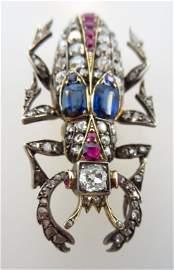 Sapphire, Ruby, & Diamond Brooch, 19th c.