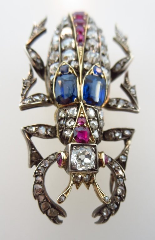 Sapphire, Ruby, & Diamond Brooch, 19th c.