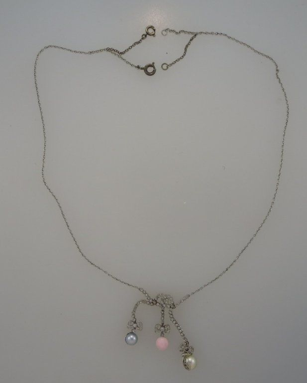 Edwardian Pearl & Diamond Pendant in Platinum