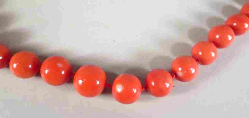 Graduated Coral Bead Necklace, 14k Gold Clasp
