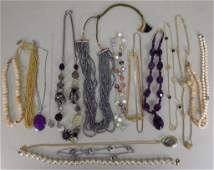 Lot of Costume Jewelry Amethyst Pearls Murano