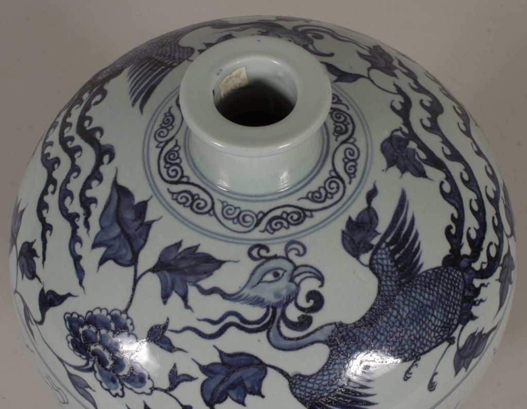 Large Blue and White Ceramic Urn, 20th C.