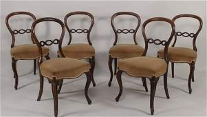 6 Victorian Walnut Balloon Back Side Chairs,19th C