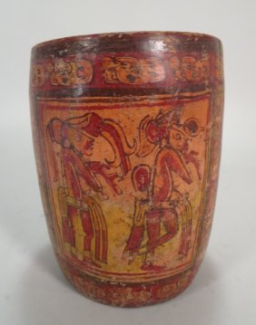 Mayan Cylinder Vessel, Late Classic, 550-950 Ad