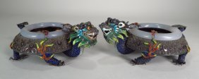 Pair Of Chinese Silver 5 Toed Dragon Censors