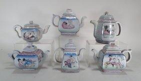 6 Erotic Chinese Earthenware Teapots