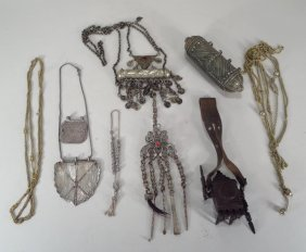 Group Of Middle East Amulets And Amulet Cases.