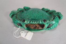 Chinese Ceramic Crab Wall Pocket, 19th C.