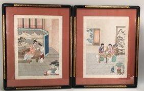 Pair Vintage Japanese Watercolors On Silk, Maidens