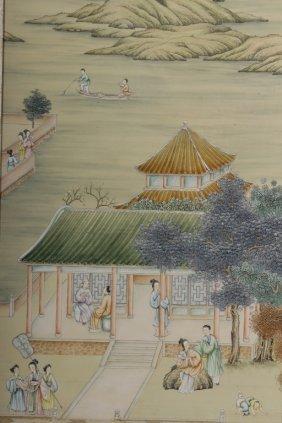 Very Large Asian Land/lake Scene, W/c On Silk