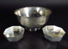 3 Tiffany & Co Makers Bowls: Sm. Pair, Lg. Revere
