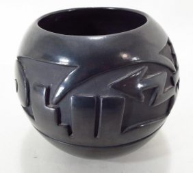 Santa Clara Pueblo Silverplate Pot, Mida Tafoya