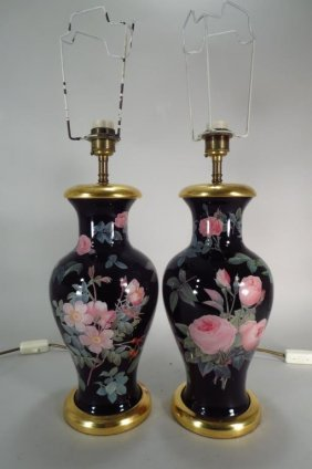 Pair Of Vaughan Decalcomania Table Lamps, London