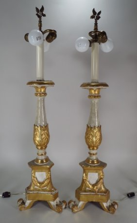 Pr. Of Italian Carved Wood Candelabra As Lamps