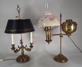 2 Brass Desk Lamps, L.19th -e.20th