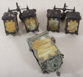 Metal And Slag Glass Hanging Lanterns