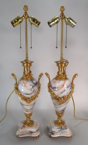 Pair Of Marble And Gilt Bronze Urn Lamps