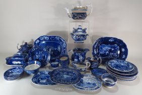 Group Of Blue/white Staffordshire Pottery English
