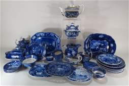 Group of BlueWhite Staffordshire Pottery English
