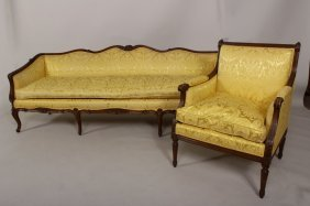 Louis Xvi Style Settee And Side Chair, C. 1920