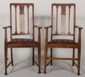 Pr. Arts & Crafts Oak Chairs, George Smith Seats