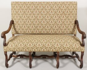 Louis Xiv-style Walnut Provincial Settee, 19th C.