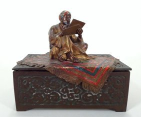 Cold Painted Vienna Bronze Box, Arabic, 19th C.