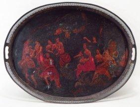 Painted Tole Tray, 19th C., mythological scene